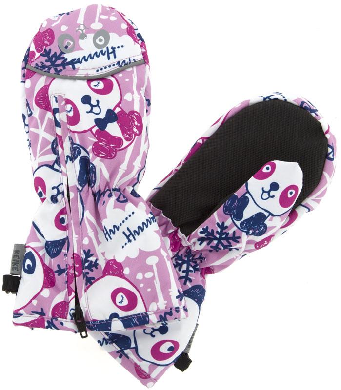 Варежки для девочки Reike Панда, цвет: розовый. RW18_PND1 pink. Размер 2RW18_PND1 pinkВарежки Reike Панда выполнены из ветрозащитной, водонепроницаемой и дышащей мембранной ткани, декорированной принтом в стиле коллекции Панда. Мягкая подкладка из флиса обеспечивает дополнительный комфорт и тепло. Запястья оформлены резинкой, ладони дополнительно усилены. Тыльная сторона варежек оформлена светоотражающими деталями и молнией для облегчения надевания.