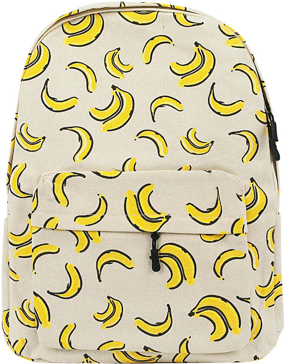"""Рюкзак Kawaii Factory """"Бананы"""" с оригинальным принтом, поднимающим настроение, отлично подходит для прогулок, путешествий и учебы. Модный рюкзак удобен и функционален, сшит из прочного материала. В нем есть все, что нужно: одно основное отделение, закрывающееся на застежку-молнию, один внутренний карман, а также внешний накладной карман на молнии. По бокам рюкзака имеются небольшие кармашки для различных мелочей. Рюкзак оснащен широкими лямками регулируемой длины и ручкой для переноски в руке. Рюкзак с бананами - это антистресс для тех, кто хочет все успеть и нигде не опоздать. Удобный, яркий, нужный - что еще требуется от рюкзака?"""