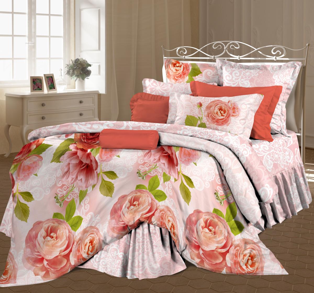 Комплект белья Любимый дом Садовый цвет, 2-спальный, наволочки 70x70, цвет: розовый431864