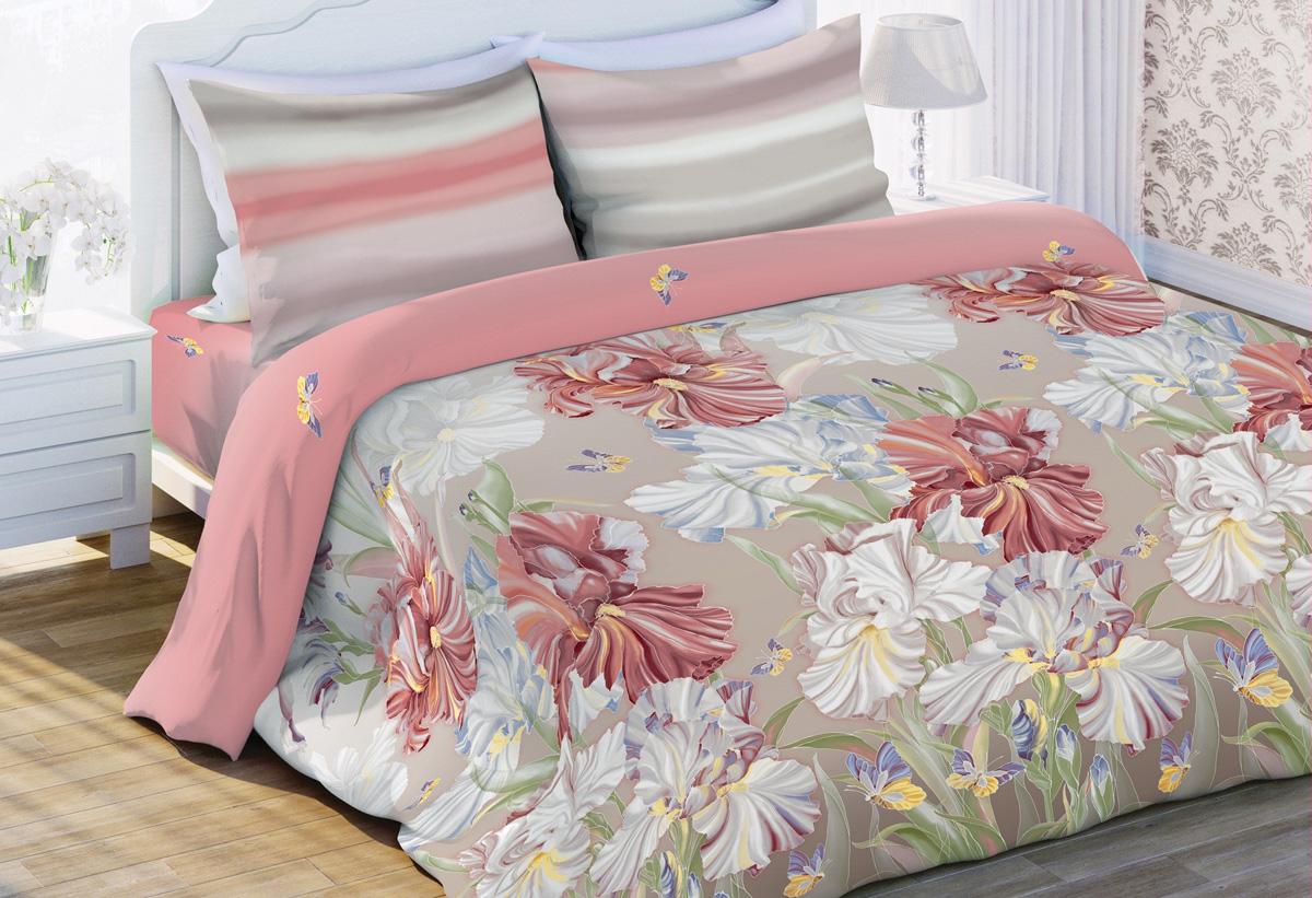 Комплект белья Любимый дом Ирисы, 2-спальный, наволочки 70x70, цвет: бежевый441402
