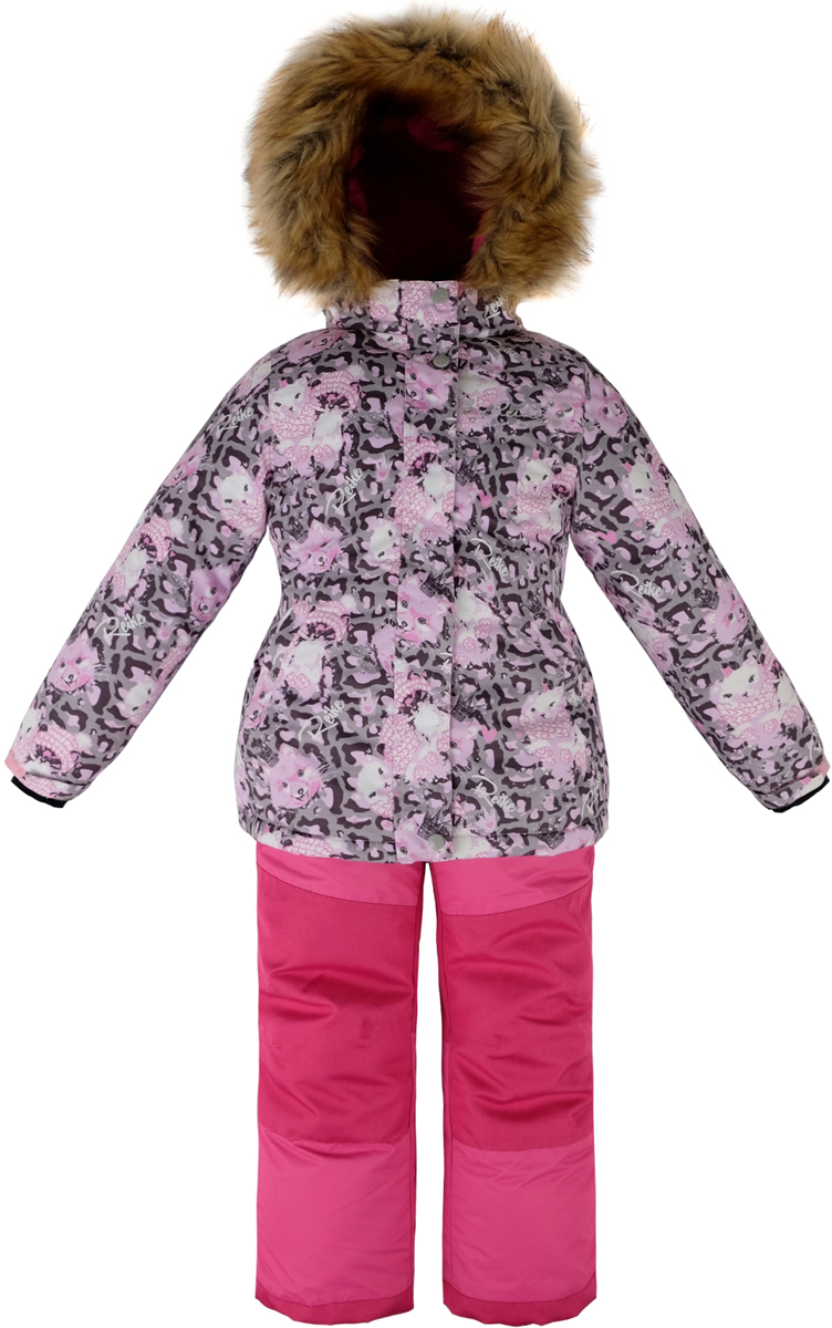 Комплект для девочки Reike Забавный горностай: куртка, полукомбинезон, цвет: серый. 39775790_FE grey. Размер 10439775790_FE greyКомплект для девочки Reike Забавный горностай состоит из куртки, декорированной красочным принтом с изображением горностая, и однотонных брюк на лямках. Комплект выполнен из ветрозащитной, водонепроницаемой и дышащей мембранной ткани на подкладке из микрофлиса и принтованного полиэстера. Куртка приталенного силуэта дополнена съемным регулирующимся капюшоном с отстегивающейся меховой опушкой и двумя карманами на липучках, сзади на талии резинка. На груди декорирована серебристой вышивкой Reike с камешками. Ветрозащитная планка на кнопках и липучках вдоль молнии не допустит проникновения холодного воздуха. Рукава на утяжке оформлены манжетами с отверстием для большого пальца из полиэстера. Завышенная талия брюк и регулируемые подтяжки гарантируют посадку по фигуре. Задняя поверхность бедер, колени, низ брюк усилены защитой от истирания. Брюки оформлены двумя боковыми карманами на молнии и съемными штрипками. Комплект оснащен множеством светоотражающих деталей, снегозащитными вставками на куртке и брюках; швы и карманы проклеены.Технологичный уровень.Коэффициент воздухопроницаемости комбинезона: 3000гр/м2/24 ч.Водоотталкивающее покрытие: 5000 мм.