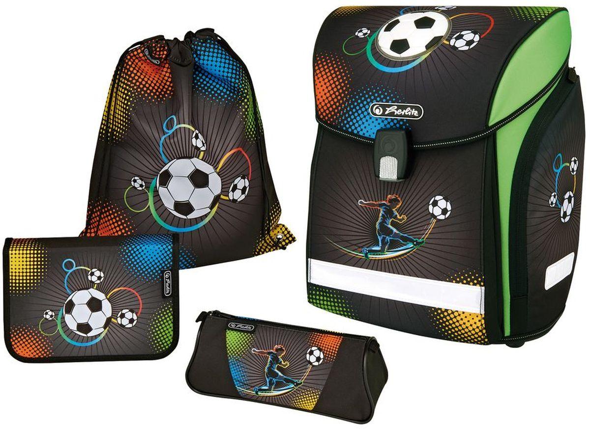 Herlitz Ранец школьный New Plus Soccer с наполнением 3 предмета herlitz пенал butterfly dreams с наполнением 31 предмет