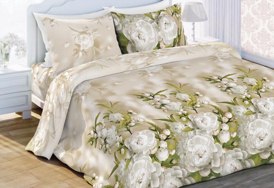 Комплект белья Любимый дом Яблоневый Цвет, евро, наволочки 70x70, цвет: бежевый323892