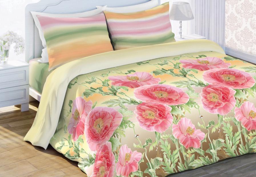 Комплект белья Любимый дом Летний сон, 1,5-спальный, наволочки 70x70, цвет: светло-зеленый397309