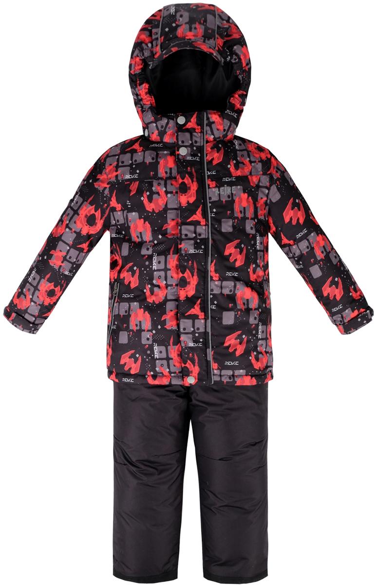 Комплект для мальчика Reike Галактика: куртка, полукомбинезон, цвет: черный. 39830330_GLX black. Размер 14039830330_GLX blackКомплект для мальчика Reike Галактика состоит из куртки, декорированной оригинальным космическим принтом, и брюк на лямках. Комплект выполнен из ветрозащитной, водонепроницаемой и дышащей мембранной ткани на подкладке из микрофлиса и принтованного полиэстера. Куртка дополнена съемным регулирующимся капюшоном с козырьком и двумя карманами на молнии. Рукава на утяжке оформлены манжетами из полиэстера с отверстием для большого пальца. Ветрозащитная планка на кнопках и липучках вдоль молнии не допустит проникновения холодного воздуха. Завышенная талия брюк и регулируемые съемные подтяжки гарантируют комфортную посадку по фигуре. Низ усилен защитой от истирания. Брюки оснащены двумя боковыми карманами на молнии, а также съемными штрипками. Комплект имеет множество светоотражающих деталей, снегозащитные вставки на куртке и брюках. Базовый уровень. Коэффициент воздухопроницаемости куртки: 2000гр/м2/24 ч. Водоотталкивающее покрытие: 2000 мм.