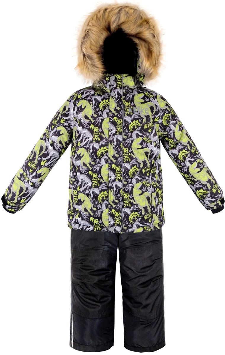 Комплект для мальчика Reike Динозавр: куртка, полукомбинезон, цвет: черный. 39930336_DNS black. Размер 12239930336_DNS blackКомплект для мальчика Reike Динозавр состоит из куртки, декорированной оригинальным доисторическим принтом, и брюк на лямках. Комплект выполнен из ветрозащитной, водонепроницаемой и дышащей мембранной ткани на подкладке из микрофлиса и принтованного полиэстера. Куртка дополнена съемным регулирующимся капюшоном с отстегивающейся опушкой из искусственного меха и двумя карманами на молнии. Декорирована светоотражающими деталями - спереди логотипом Reike, сзади - фигурой динозавра. Рукава на утяжке, оформлены манжетами из полиэстера с отверстием для большого пальца. Ветрозащитная планка на кнопках и липучках вдоль молнии не допустит проникновения холодного воздуха. Завышенная талия брюк и регулируемые подтяжки гарантируют удобную посадку по фигуре. Задняя поверхность бедер, колени, низ брюк усилены защитой от истирания. Брюки оформлены двумя боковыми карманами на молнии и съемными штрипками. Комплект оснащен снегозащитными вставками на куртке и брюках, множеством светоотражающих деталей, в том числе логотипом Reike на груди, а сзади - фигурой динозавра. Швы и карманы проклеены. Технологичный уровень.Коэффициент воздухопроницаемости комбинезона: 3000гр/м2/24 ч.Водоотталкивающее покрытие: 5000 мм.