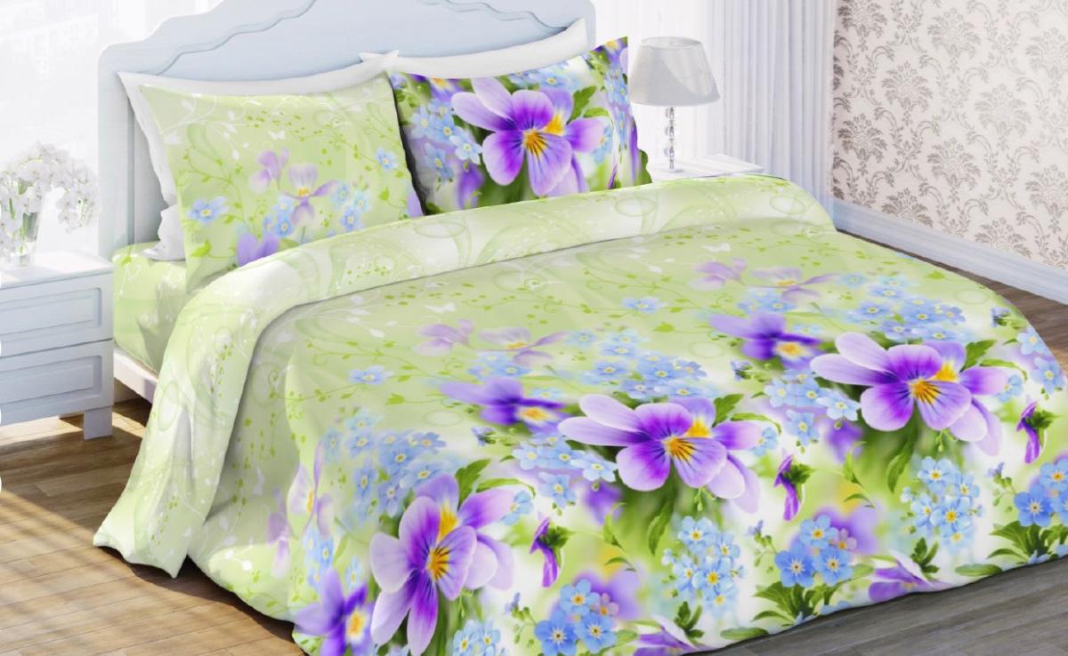 Комплект белья Любимый дом Фиалка, евро, наволочки 70x70, цвет: светло-зеленый323891