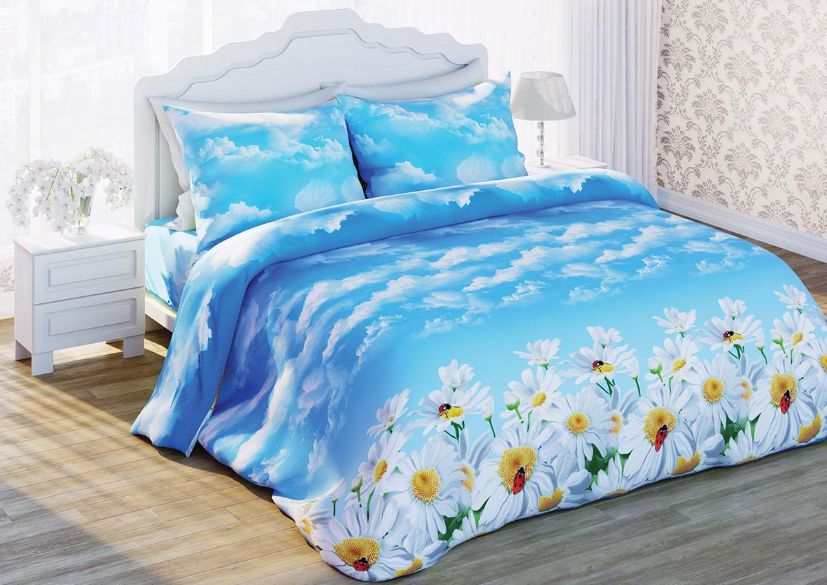 Комплект белья Любимый дом Ромашки, евро, наволочки 70x70, цвет: голубой336744