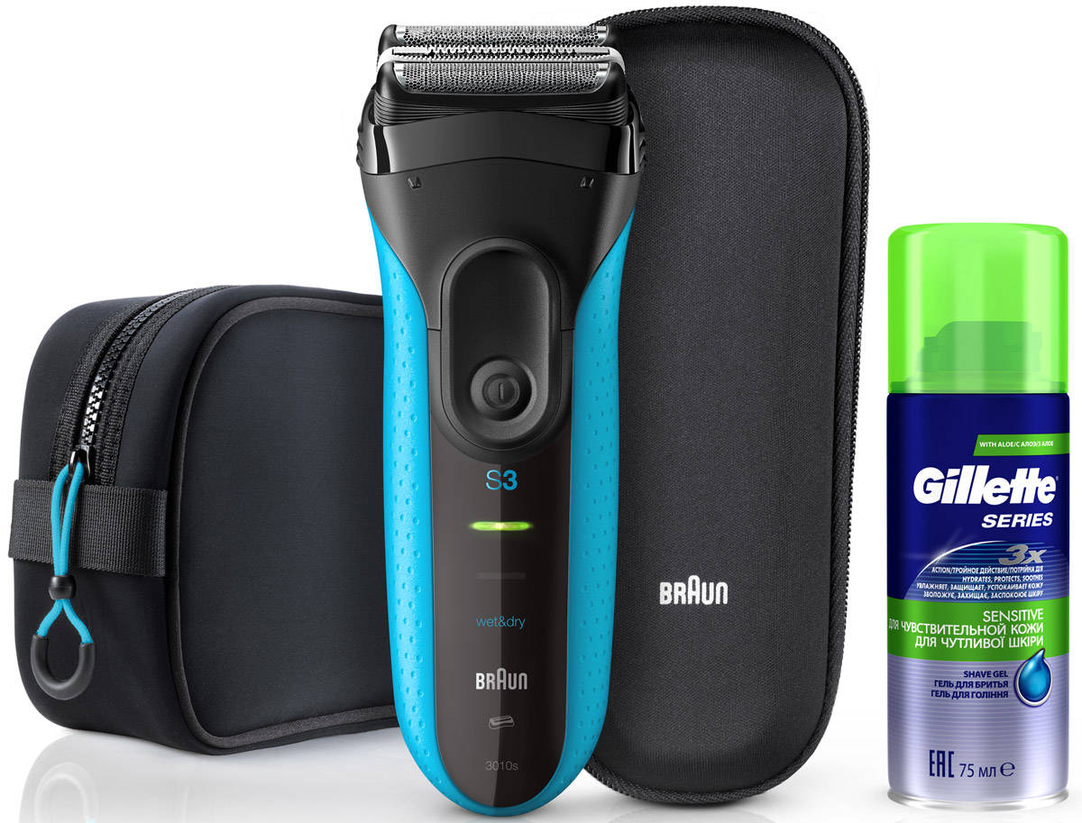 Braun Series 3 ProSkin 3040TS, Blue Black электробритва + гель Gillette Sensitive, 75 мл + чехол