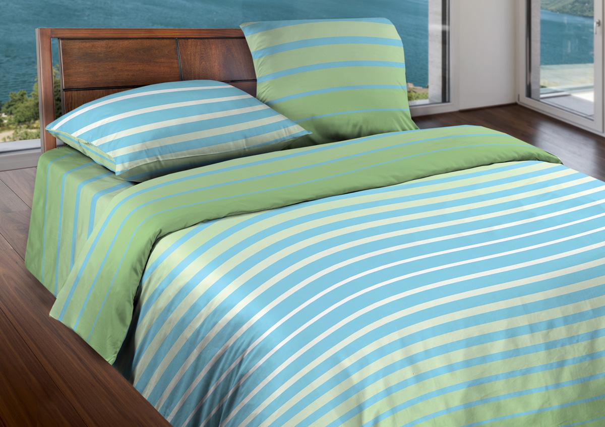 Комплект белья Wenge Stripe Green, 2-спальный, наволочки 70x70, цвет: голубой361835