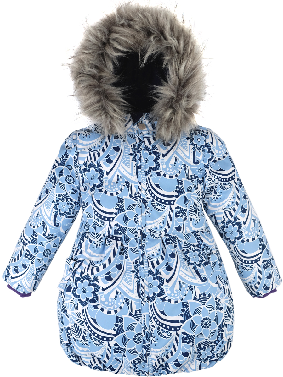 Куртка для девочки Reike Зимние кружева, цвет: синий. 39655220_WLC blue. Размер 11039655220_WLC blueКуртка для девочки Reike Зимние кружева изготовлена из ветрозащитной, водонепроницаемой, дышащей мембранной ткани с оригинальным принтом в виде растительных узоров. Подкладка выполнена из принтованного полиэстера с флисовой спинкой и воротником. Приталенная куртка дополнена съемным регулирующимся капюшоном с отстегивающейся меховой опушкой, светоотражающими лентами, а также двумя карманами, украшенными бантиками. Низ куртки присборен резинкой. Рукава оформлены эластичными трикотажными манжетами. Внутренняя ветрозащитная планка по всей длине молнии не допускает проникновения холодного воздуха. Базовый уровень. Коэффициент воздухопроницаемости куртки: 2000гр/м2/24 ч. Водоотталкивающее покрытие: 2000 мм.