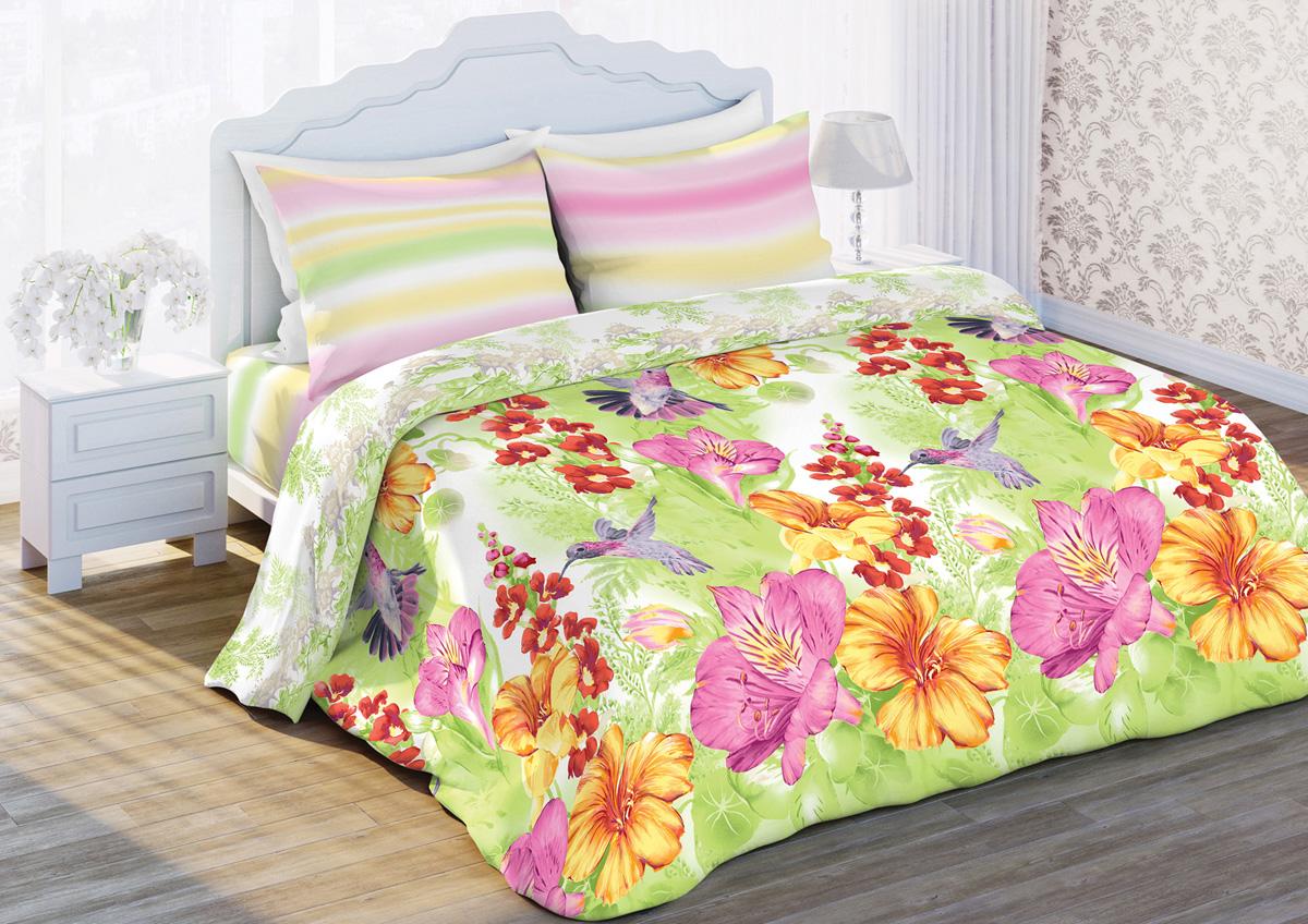 Комплект белья Любимый дом Яркие колибри, евро, наволочки 70x70, цвет: светло-зеленый366560