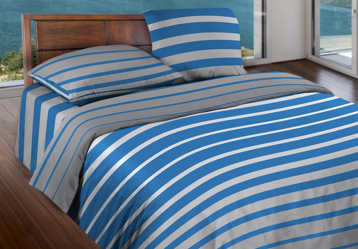 Комплект белья Wenge Stripe Blue, 1,5-спальный, наволочки 70x70, цвет: синий366576