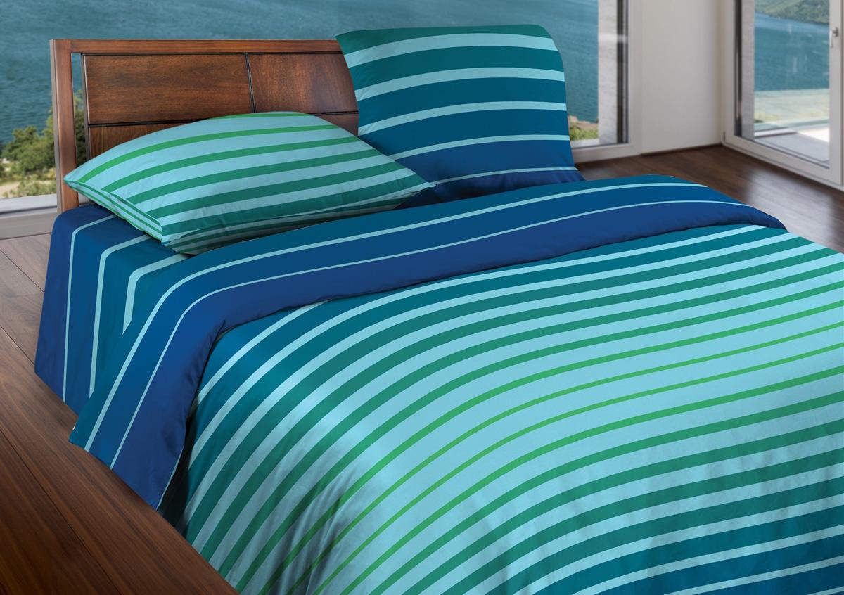 Комплект белья Wenge Stripe Blue mint, 1,5-спальный, наволочки 70x70, цвет: бирюзовый