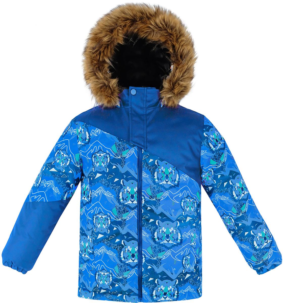 Куртка для мальчика Reike, цвет: темно-синий. 39255220_TGR navy. Размер 11639255220_TGR navyКуртка для мальчика Reike Tiger изготовлена из ветрозащитного, водоотталкивающего и дышащего материала декорирована оригинальным принтом со стилизованными изображениями тигра. Подкладка выполнена из принтованного полиэстера с флисовым подкладом. Куртка дополнена съемным регулирующимся капюшоном с отстегивающимся мехом, двумя карманами на молнии, светоотражающими элементами. Манжеты на резинке, регулируемая утяжка внизу куртки и внутренняя ветрозащитная планка вдоль молнии не допустят проникновения холодного воздуха. Дополнительную защиту от ветра обеспечивает короткая ветрозащитная планка на кнопках и липучках, расположенная у горловины.Базовый уровень. Коэффициент воздухопроницаемости куртки: 2000гр/м2/24 ч. Водоотталкивающее покрытие: 2000 мм.