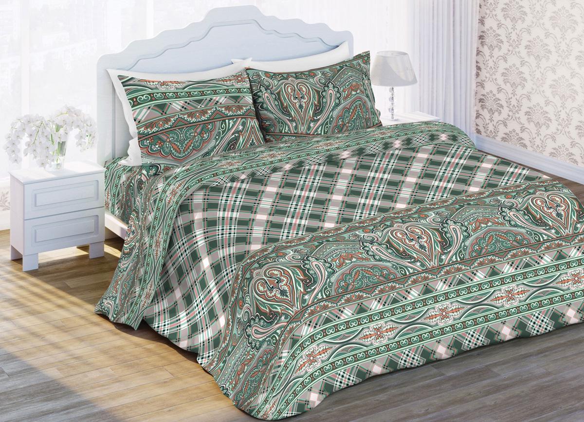 Комплект белья Любимый дом Малахит, 1,5-спальный, наволочки 70x70, цвет: зеленый370725