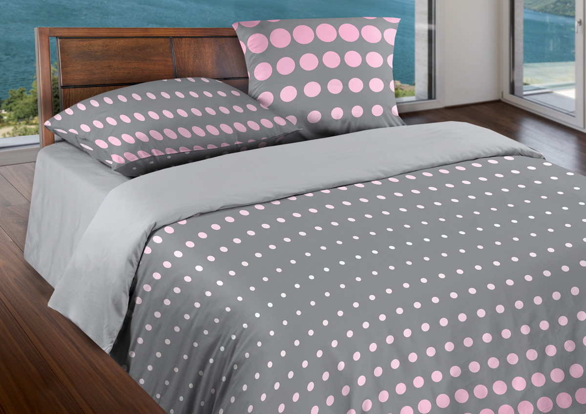 Комплект белья Wenge Dot Pink-Gray, 2-спальный, наволочки 70x70, цвет: серый387202