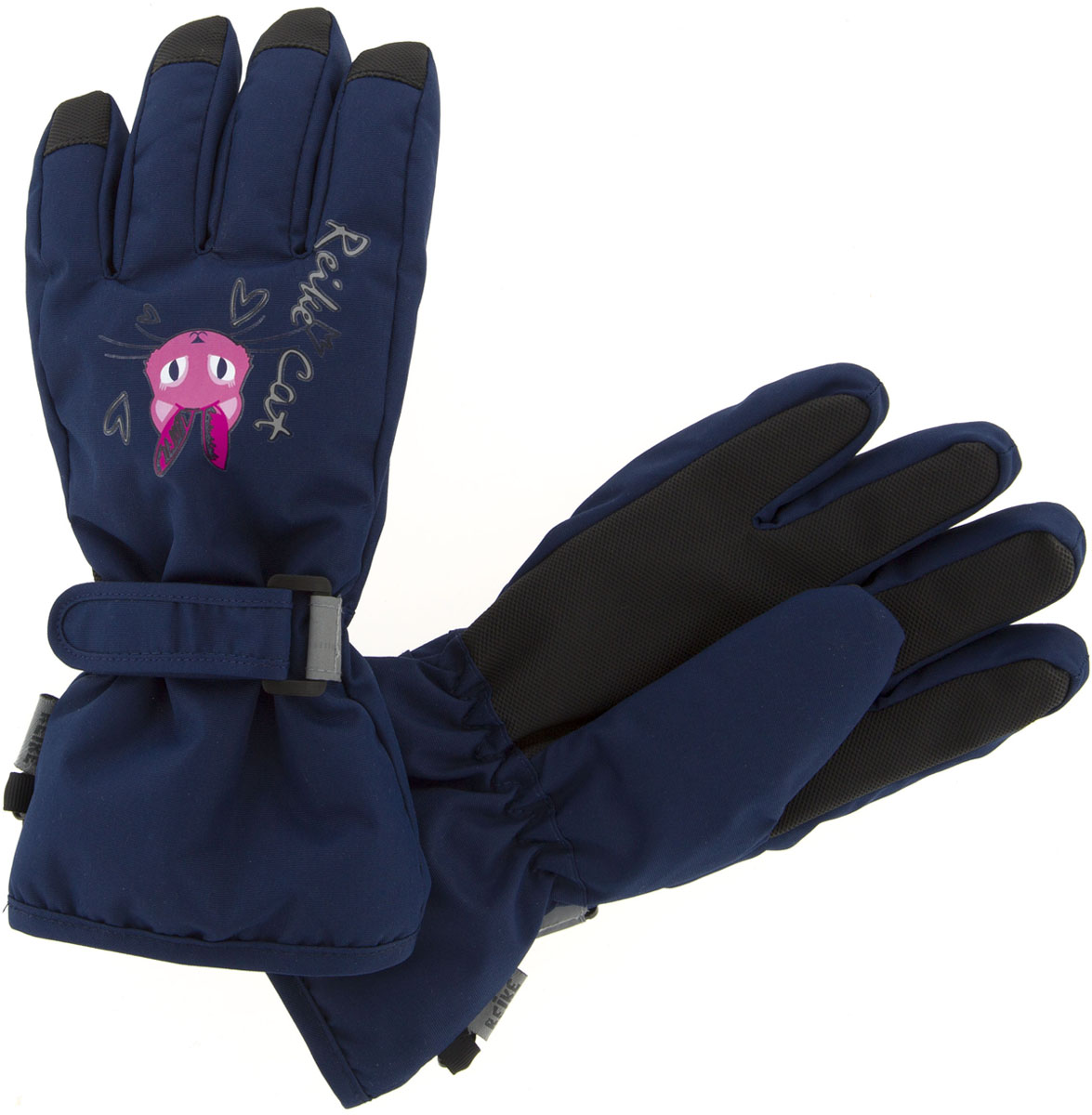 Перчатки для девочки Reike Кошечки, цвет: темно-синий. RW18_PRC2 navy. Размер 6 перчатки reike