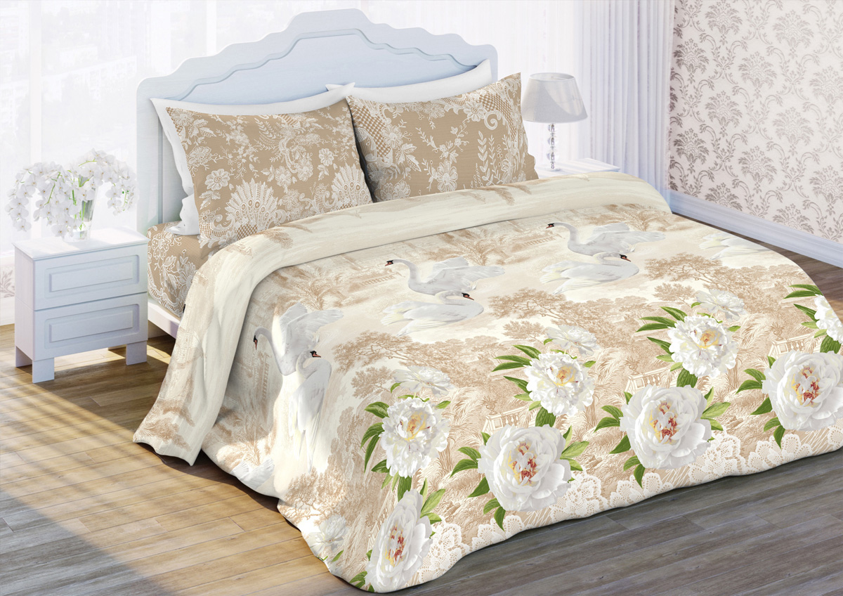 Комплект белья Любимый дом Нежность, 2-спальный, наволочки 70x70, цвет: бежевый396705