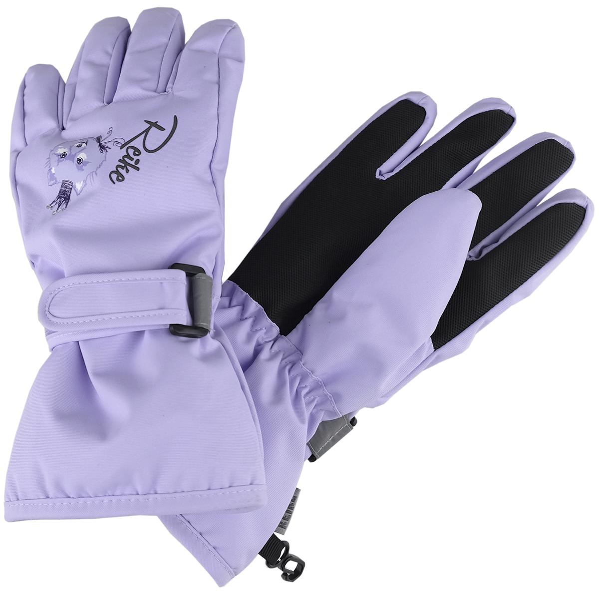 Перчатки для девочки Reike Забавный горностай, цвет: фиолетовый. RW18_FE purple. Размер 7RW18_FE purpleПерчатки для девочки Reike Забавный горностай выполнены из ветрозащитной, водонепроницаемой и дышащей мембранной ткани, декорированной принтом в стиле коллекции. Мягкая подкладка из флиса обеспечивает дополнительный комфорт и тепло. Запястья оформлены резинкой и регулируемой липучкой, ладони и пальцы дополнительно усилены.