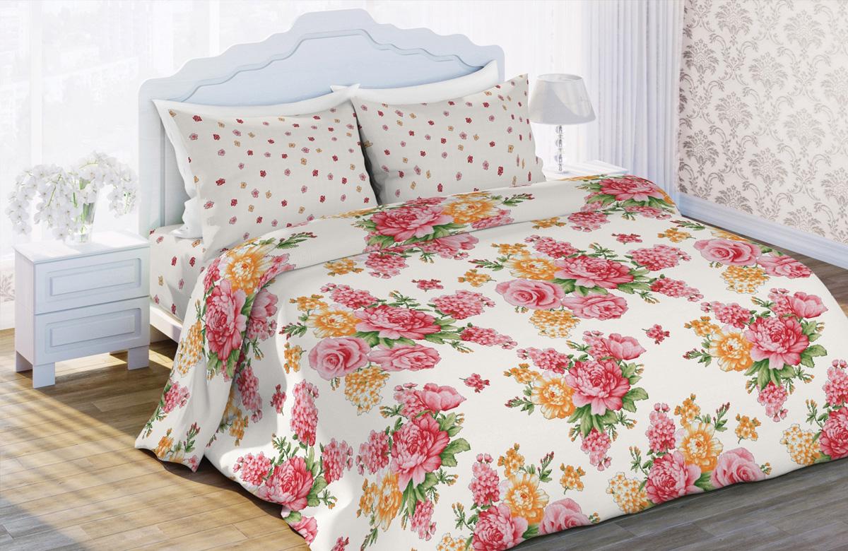 Комплект белья Любимый дом Флорис, 2-спальный, наволочки 70x70, цвет: белый410821
