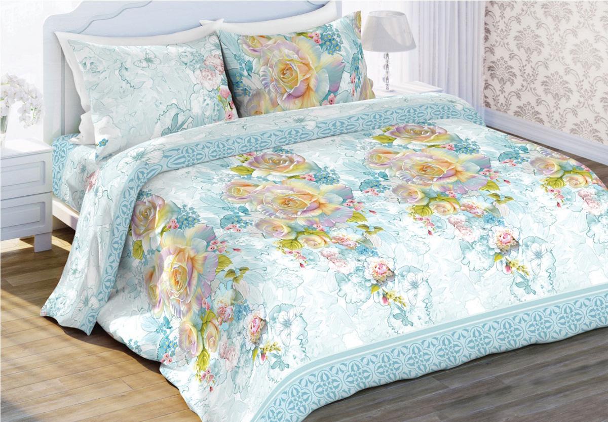 Комплект белья Любимый дом Жемчужная роза, евро, наволочки 70x70, цвет: голубой410929