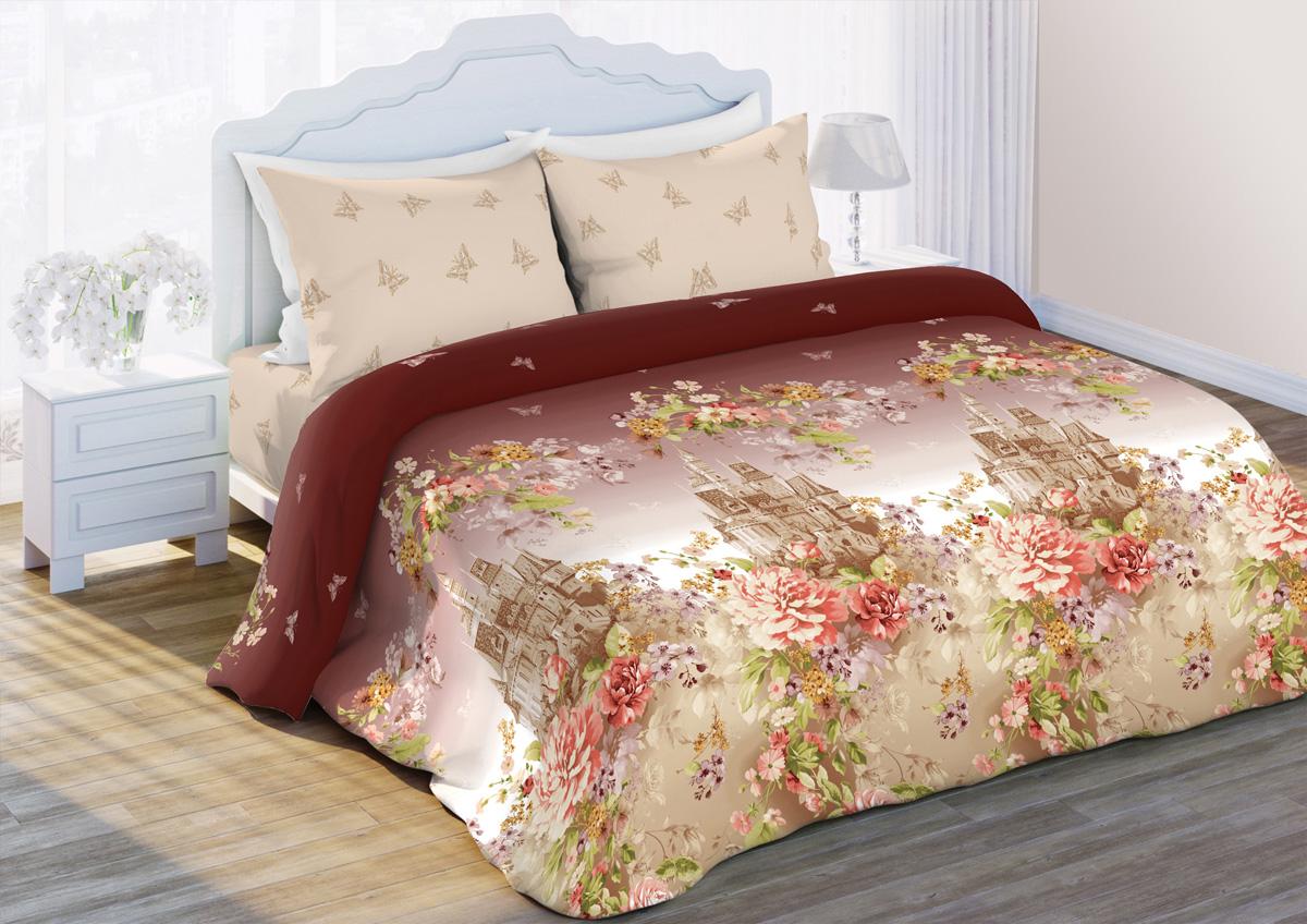 Комплект белья Любимый дом Замок, 1,5-спальный, наволочки 70x70, цвет: коричневый422315
