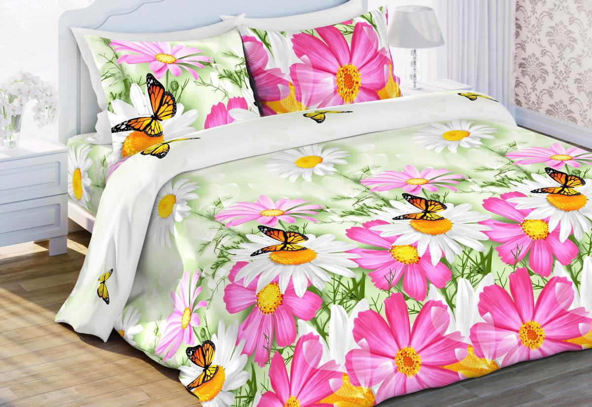 Комплект белья Любимый дом Космея, 2-спальный, наволочки 70x70, цвет: светло-зеленый
