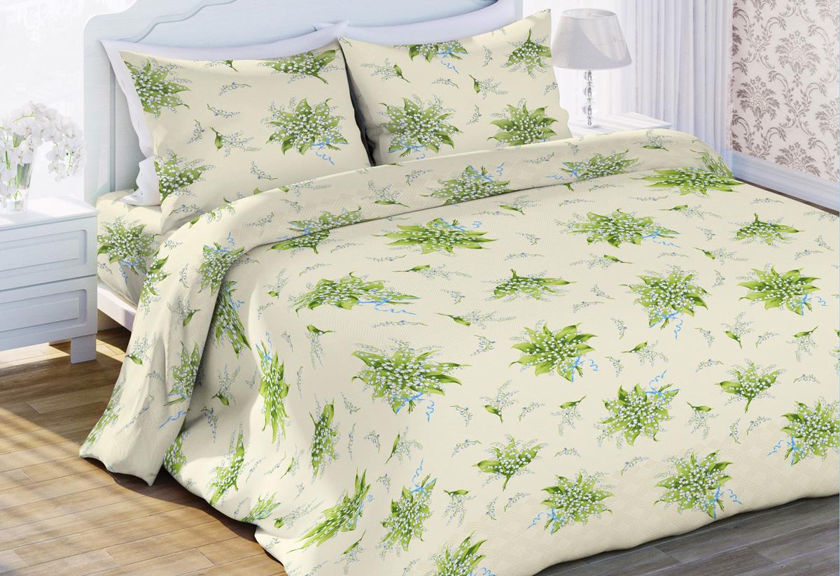 Комплект белья Любимый дом Аромат Весны, евро, наволочки 70x70, цвет: светло-зеленый429386