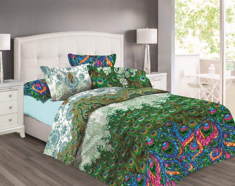 Комплект белья Любимый дом Павлины, семейный, наволочки 70x70, цвет: зеленый