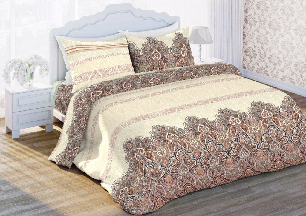 Комплект белья Флоранс Вернисаж, 1,5-спальный, наволочки 70x70, цвет: бежевый431891