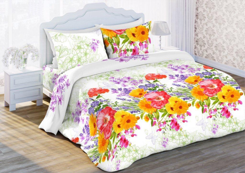 Комплект белья Флоранс Цветочный этюд, 2-спальный, наволочки 70x70, цвет: белый431901