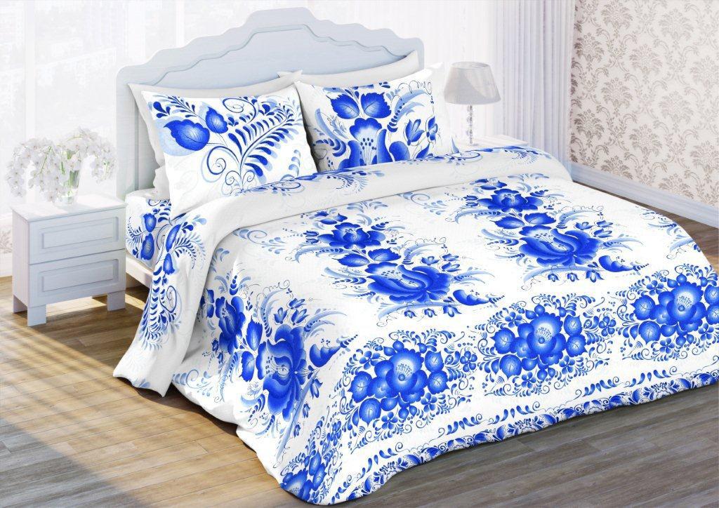 Комплект белья Флоранс Гжельская роспись, 1,5-спальный, наволочки 70x70, цвет: белый431896