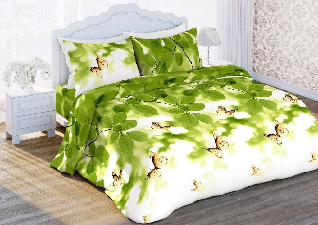 Комплект белья Флоранс Листья, 2-спальный, наволочки 70x70, цвет: зеленый431905