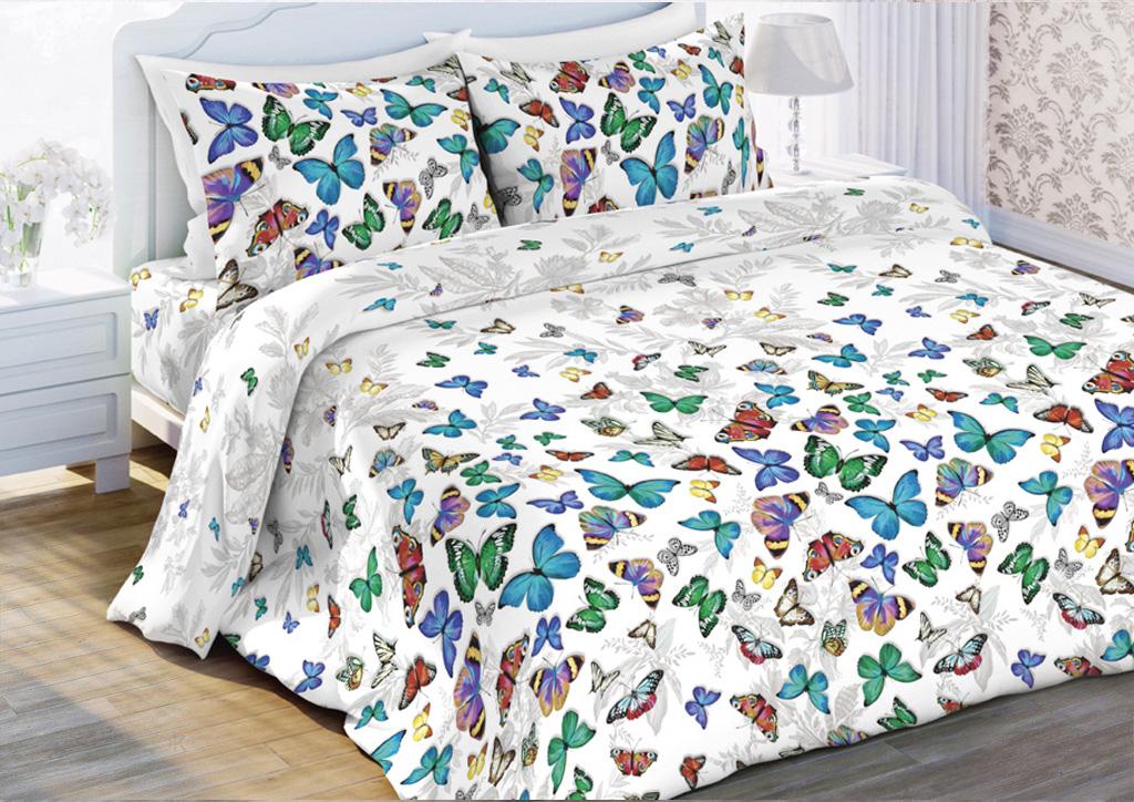 Комплект белья Любимый дом Бабочки, евро, наволочки 70x70, цвет: белый дом в деревне недорого липецкая область