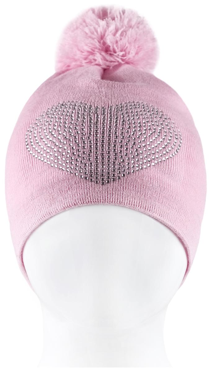 Шапка для девочки Reike, цвет: розовый. RKN1718-1_bs pink. Размер 52RKN1718-1_bs pinkШапка для девочки Reike изготовлена из высококачественного материала на основе шерсти и акрила. Модель мелкой вязки на хлопковой подкладке дополнительно утеплена на ушках. Шапочка украшена сердечком из страз и объемным помпоном на макушке.Уважаемые клиенты!Размер, доступный для заказа, является обхватом головы.
