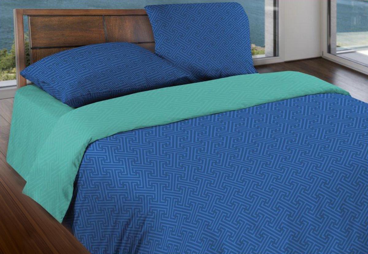 Комплект белья Wenge Ночная лагуна, 1,5-спальный, наволочки 70x70, цвет: синий443868