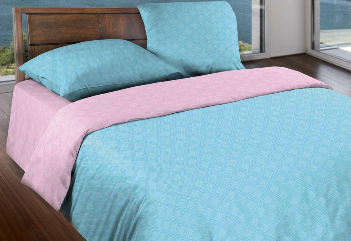 Комплект белья Wenge Лазурный рассвет, евро, наволочки 70x70, цвет: голубой443878