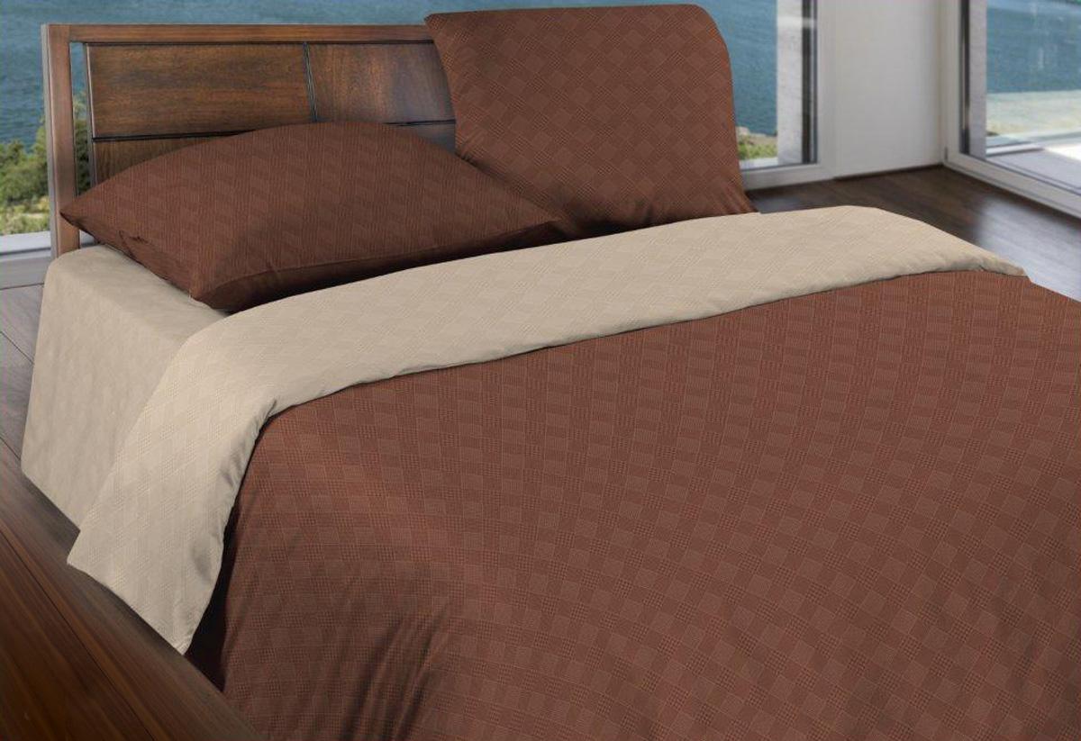 Комплект белья Wenge Капучино, евро, наволочки 70x70, цвет: коричневый443876