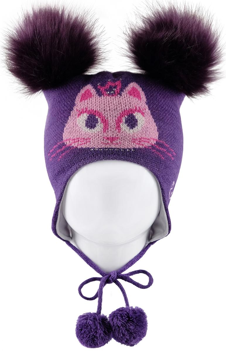 Шапка для девочек Reike, цвет: фиолетовый. RKN1718-1_PRC purple. Размер 52RKN1718-1_PRC purple