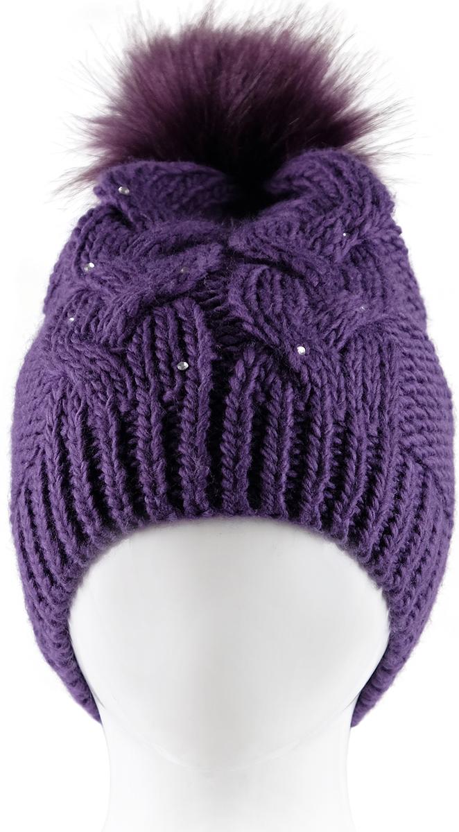 Шапка для девочки Reike, цвет: фиолетовый. RKN1718-2_bs purple. Размер 52RKN1718-2_bs purpleШапка для девочки Reike изготовлена из высококачественного материала на основе акрила. Модель крупной вязки утеплена внутренней вставкой из теплого и мягкого флиса для защиты лба и ушей. Шапочка с помпоном из искусственного меха на макушке украшена объемным вязаным узором и стразами.Уважаемые клиенты!Размер, доступный для заказа, является обхватом головы.