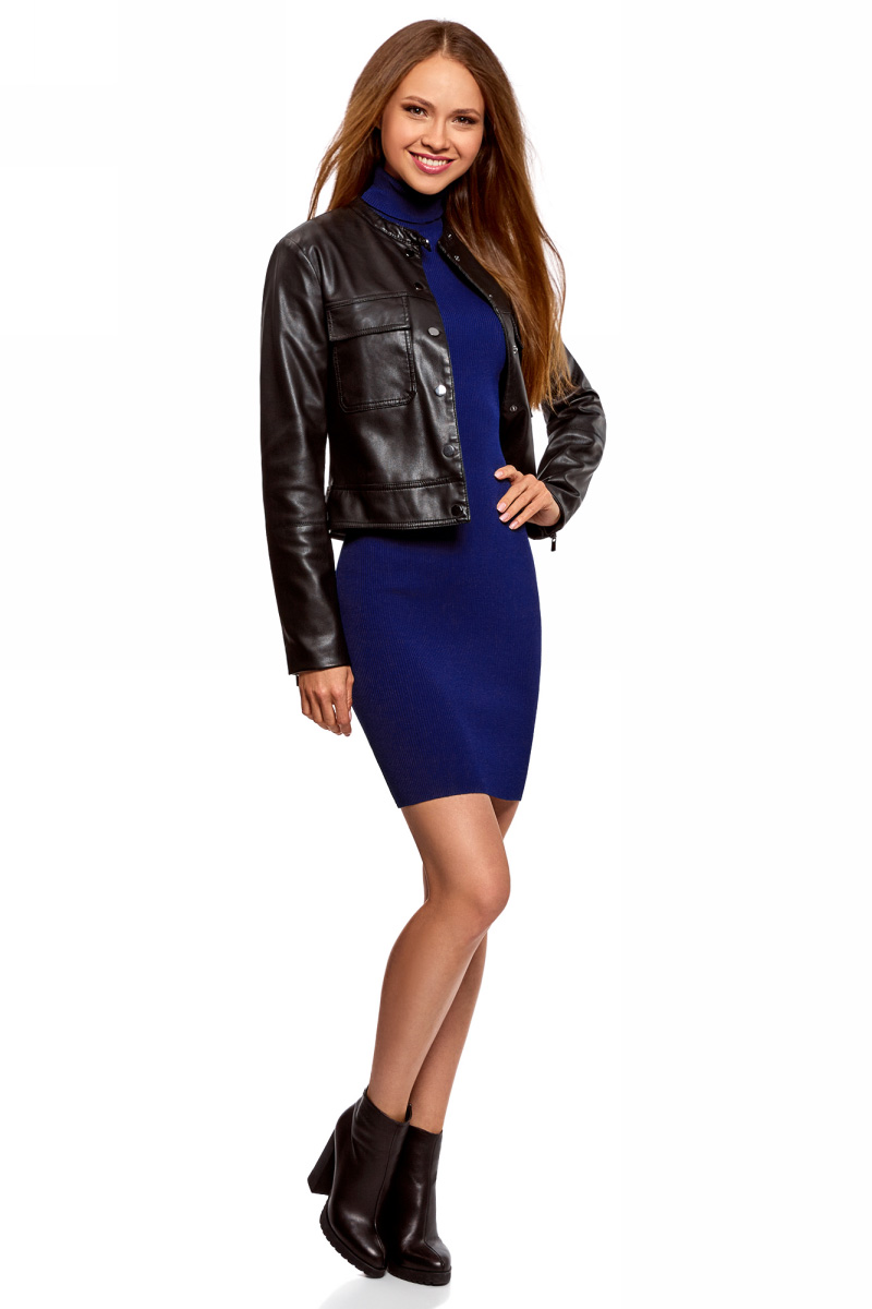 Платье oodji Ultra, цвет: синий. 63912225/46999/7500N. Размер XXS (40)63912225/46999/7500NВязаное платье от oodji выполнено из вискозной пряжи. Модель приталенного кроя с рукавами до локтя и воротником-гольф на спине дополнено вырезом-капелькой.