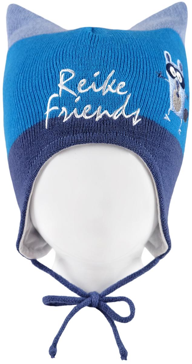 Шапка для мальчика Reike Веселые друзья, цвет: синий. RKN1718-1_FFF blue. Размер 50RKN1718-1_FFF blueШапка на завязках Reike Веселые друзья изготовлена из высококачественного материала на основе шерсти и акрила. Модель с хлопковой подкладкой дополнительно утеплена на ушках. Шапочка украшена вышивкой в стиле коллекции и надписью Reike friends.Уважаемые клиенты!Размер, доступный для заказа, является обхватом головы.