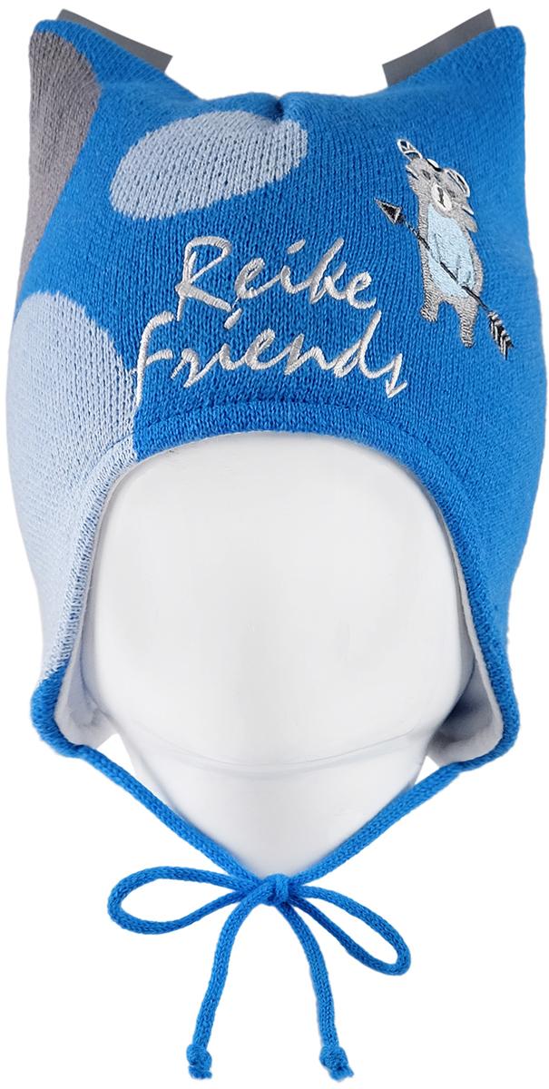 Шапка для мальчика Reike Индейцы, цвет: синий. RKN1718-1_IFC blue. Размер 44RKN1718-1_IFC blueШапка на завязках Reike Индейцы изготовлена из высококачественного материала на основе шерсти и акрила. Модель с хлопковой подкладкой дополнительно утеплена на ушках. Шапочка с двумя светоотражающими петлями на макушке украшена вышивкой в стиле коллекции и надписью Reike friends.Уважаемые клиенты!Размер, доступный для заказа, является обхватом головы.