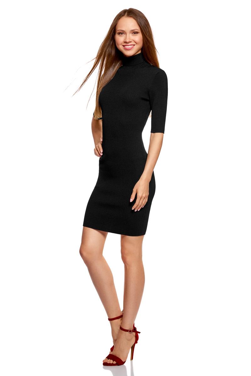 Платье oodji Ultra, цвет: черный. 63912225/46999/2900N. Размер S (44)63912225/46999/2900NВязаное платье от oodji выполнено из вискозной пряжи. Модель приталенного кроя с рукавами до локтя и воротником-гольф на спине дополнено вырезом-капелькой.