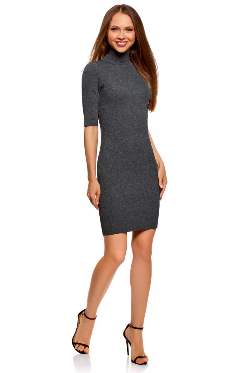 Платье oodji Ultra, цвет: темно-серый меланж. 63912225/46999/2500M. Размер XXL (52)63912225/46999/2500MВязаное платье от oodji выполнено из вискозной пряжи. Модель приталенного кроя с рукавами до локтя и воротником-гольф на спине дополнено вырезом-капелькой.