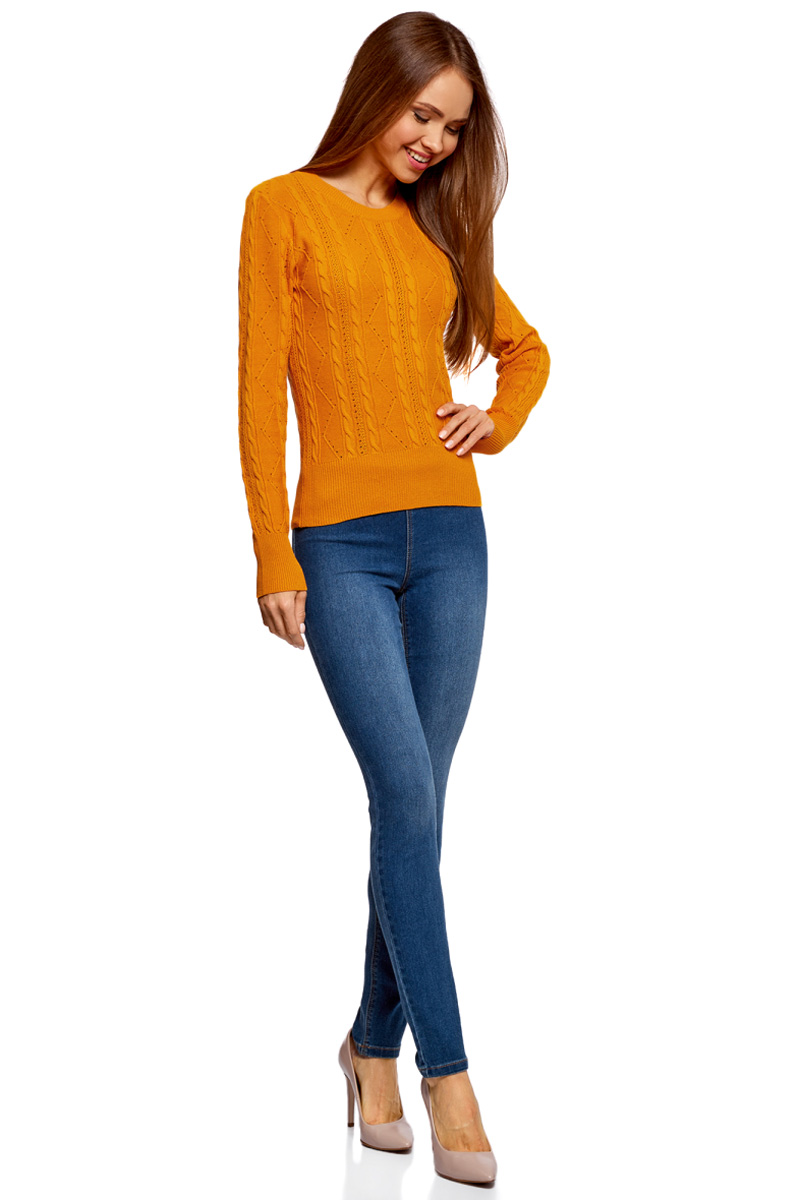 Джемпер женский oodji Ultra, цвет: оранжевый. 63810232/46388/5500N. Размер M (46)63810232/46388/5500NВязаный женский джемпер от oodji выполнен из хлопковой пряжи. Модель фактурной вязки с длинными рукавами и круглым вырезом горловины.