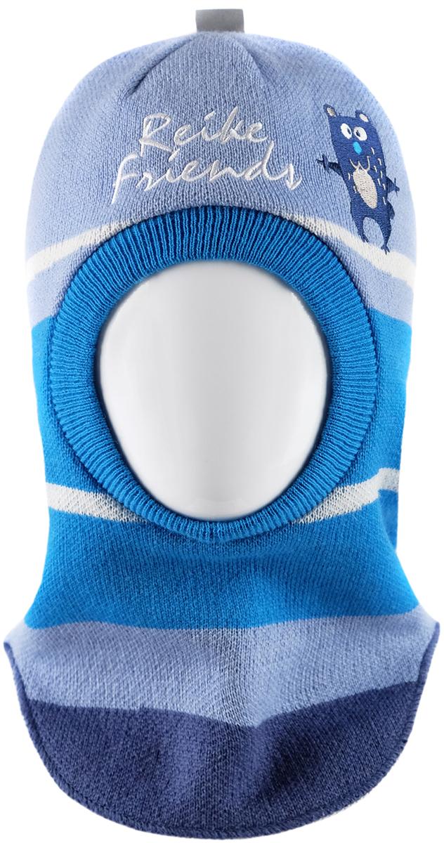 Шапка-шлем для мальчика Reike Веселые друзья, цвет: синий. RKN1718-2_FFF blue. Размер 52RKN1718-2_FFF blueШапка-шлем Reike Веселые друзья изготовлена из высококачественного материала на основе шерсти и акрила. Модель с хлопковой подкладкой дополнительно утеплена на ушках. Шлем со светоотражающей петелькой на макушке декорирован вышивкой в стиле коллекции и надписью Reike friends. Шапка-шлем идеальна для ношения в зимние холода, так как надежно защищает шею и уши ребенка от холодного ветра. Уважаемые клиенты!Размер, доступный для заказа, является обхватом головы.