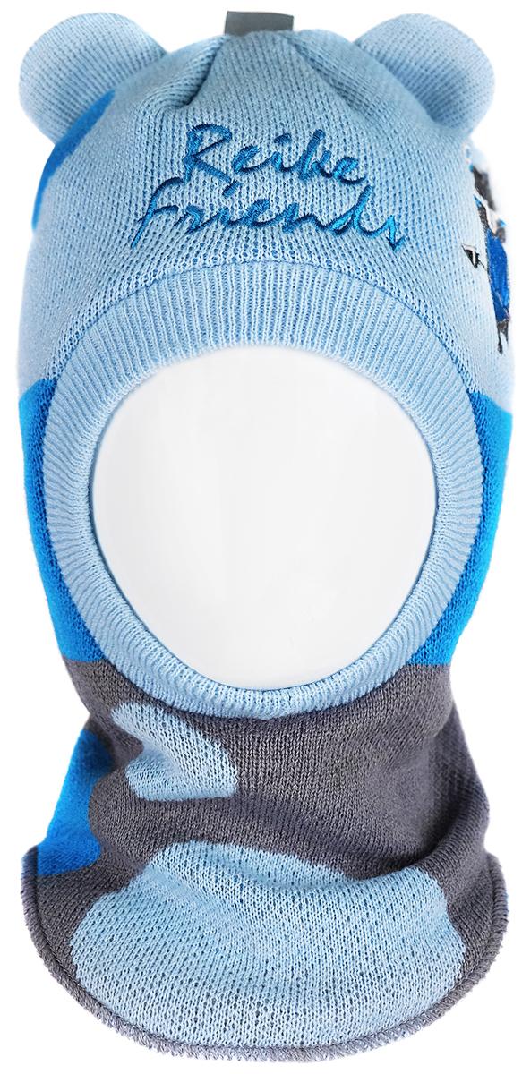 Шапка-шлем для мальчика Reike Индейцы, цвет: синий. RKN1718-2_IFC blue. Размер 50RKN1718-2_IFC blueШапка-шлем Reike Индейцы изготовлена из высококачественного материала на основе шерсти и акрила. Модель с хлопковой подкладкой дополнительно утеплена на ушках. Шлем с забавными ушками и светоотражающей петелькой на макушке декорирован вышивкой в стиле коллекции и надписью Reike friends. Шапка-шлем идеальна для ношения в зимние холода, так как надежно защищает шею и уши ребенка от холодного ветра. Уважаемые клиенты!Размер, доступный для заказа, является обхватом головы.