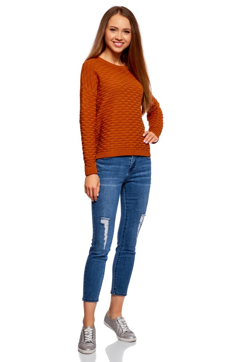 Джемпер женский oodji Ultra, цвет: темно-оранжевый. 63807299-1/31644/5900N. Размер XXS (40)63807299-1/31644/5900NВязаный женский джемпер от oodji выполнен из хлопковой пряжи. Модель с длинными рукавами и круглым вырезом горловины.